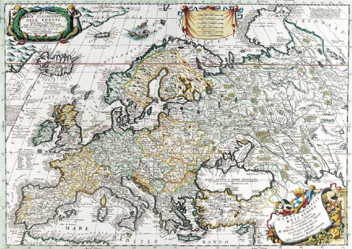 Coronelli, Vincenzo: Map of Europe. Antique/Vintage 17th Century Map. Fine Art Print.  (003885)